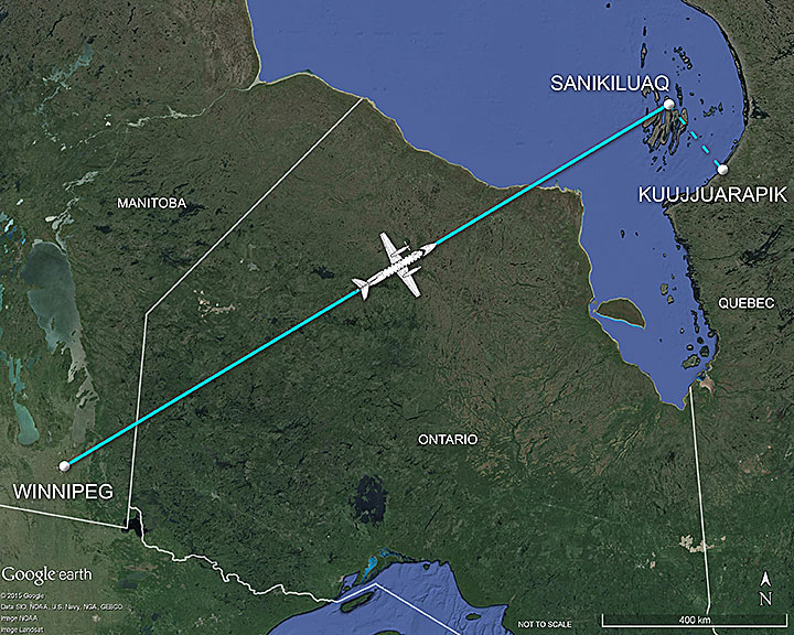 Map of the flight route from Winnipeg