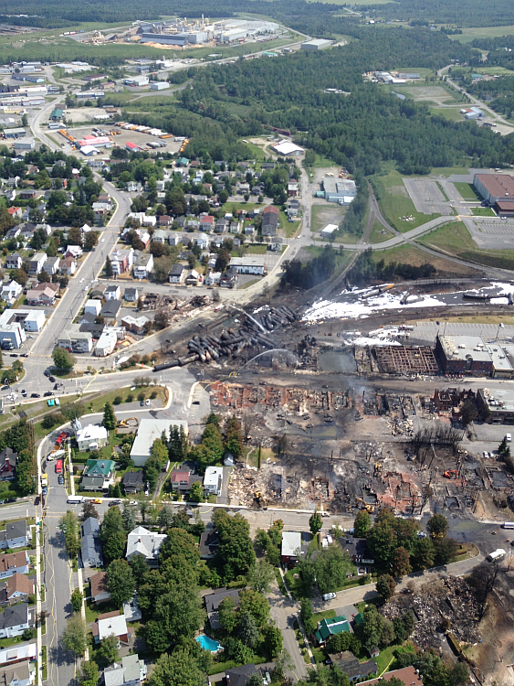 Aerial view of site after explosion