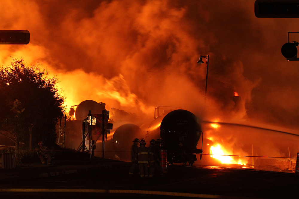 Lac-Mégantic train explosion on July 6, 2013.  Photo by TSB of Canada.