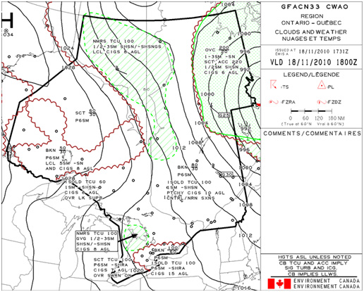 Appendix B - Graphical Area Forecast (GFA) for the occurrence area valid from 1800 (coordinated universal time) on 18 November 2010,  Clouds & Weather