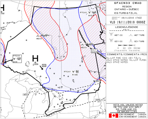 Appendix B - Graphical Area Forecast (GFA) for the occurrence area valid from 0000 (coordinated universal time) on 19 November 2010,  Icing, Turbulence & Freezing level