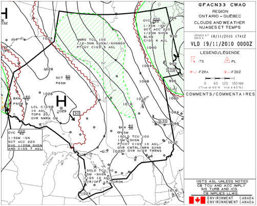 Appendix B - Graphical Area Forecast (GFA) for the occurrence area valid from 0000 (coordinated universal time) on 19 November 2010,  Clouds & Weather