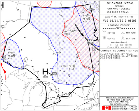 Appendix B - Graphical Area Forecast valid from 0600 (coordinated universal time) on 19 November 2010,  Icing, Turbulence & Freezing level