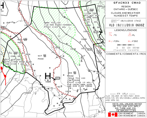 Appendix B - Graphical Area Forecast (GFA) for the occurrence area valid until 0600Z on 19 November 2010,  Clouds & Weather