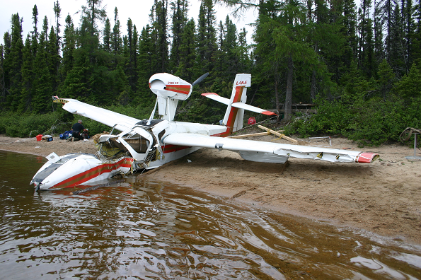 Wreckage of the Lake Buccaneer aircraft on the shore
