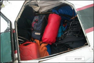 Photo 1. Baggage shifted toward the front of the aircraft