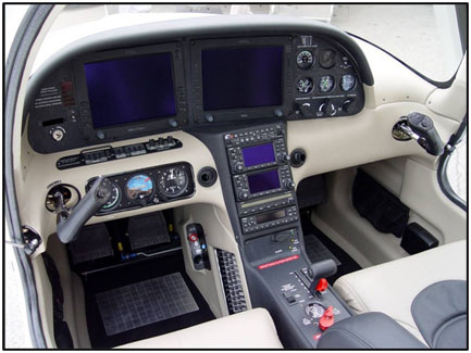 Photo 1. Cockpit and flight controls of an SR22