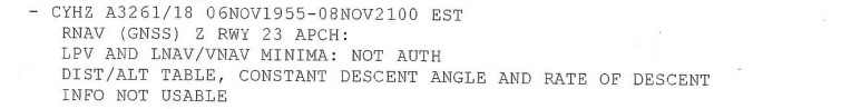 Example of Halifax/Stanfield International Airport (CYHZ) NOTAM Runway 23 (Source: Sky Lease Cargo NOTAM from occurrence flight paperwork)