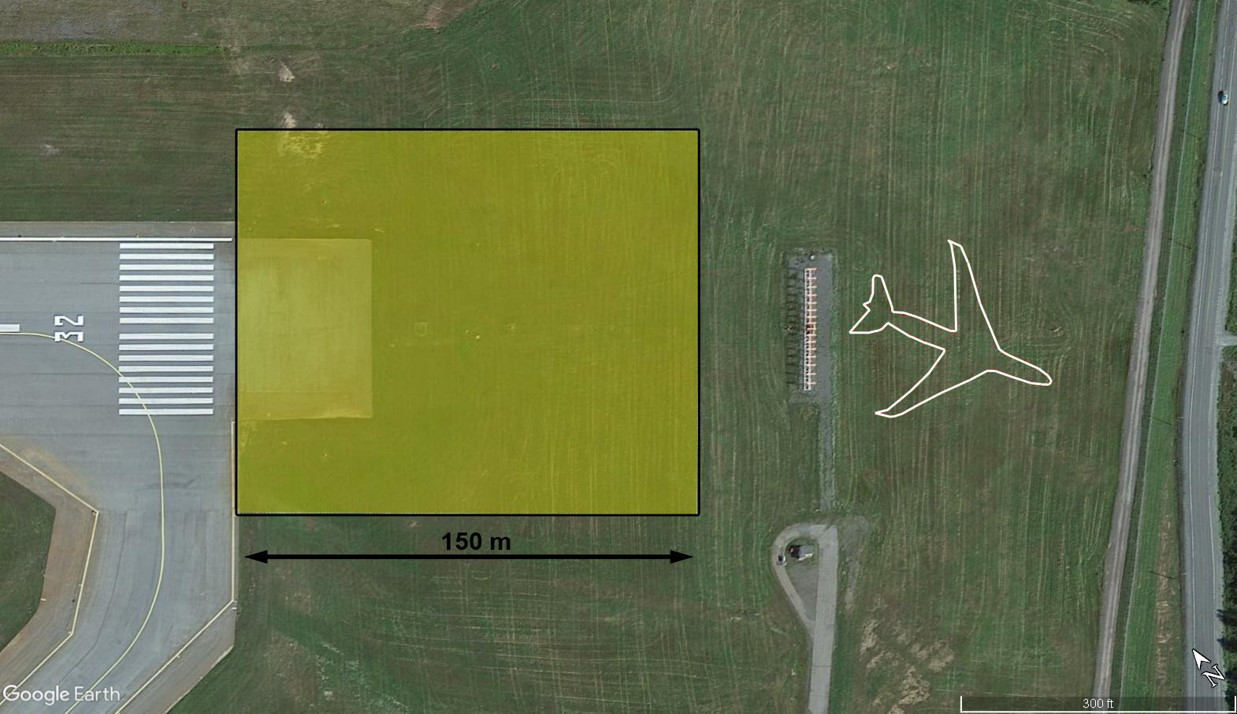 Depiction of Transport Canada's current requirement for runway end safety area on the occurrence runway with the location of the occurrence aircraft after the runway overrun (Source: Google Earth, with TSB annotations)