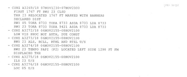 NOTAMs for Halifax/Stanfield International Airport