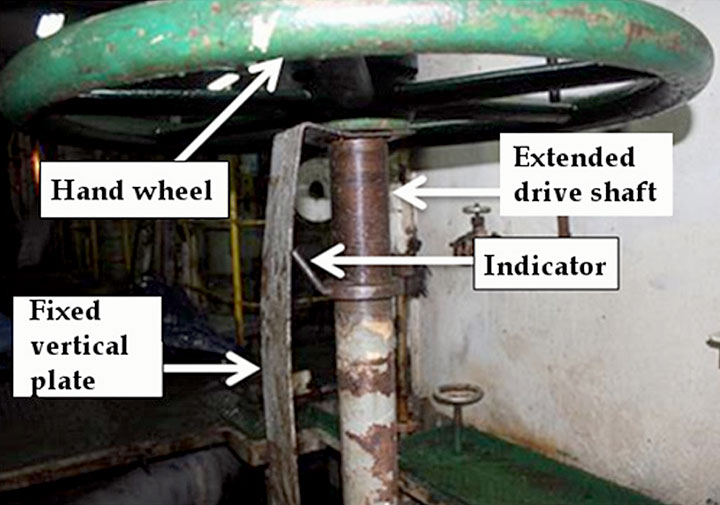 Image of the hand wheel and bent valve position indicator