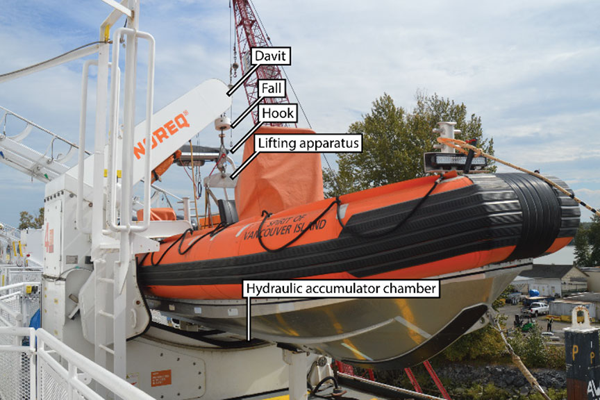 A rescue boat similar to the occurrence rescue boat, with the same type of davit