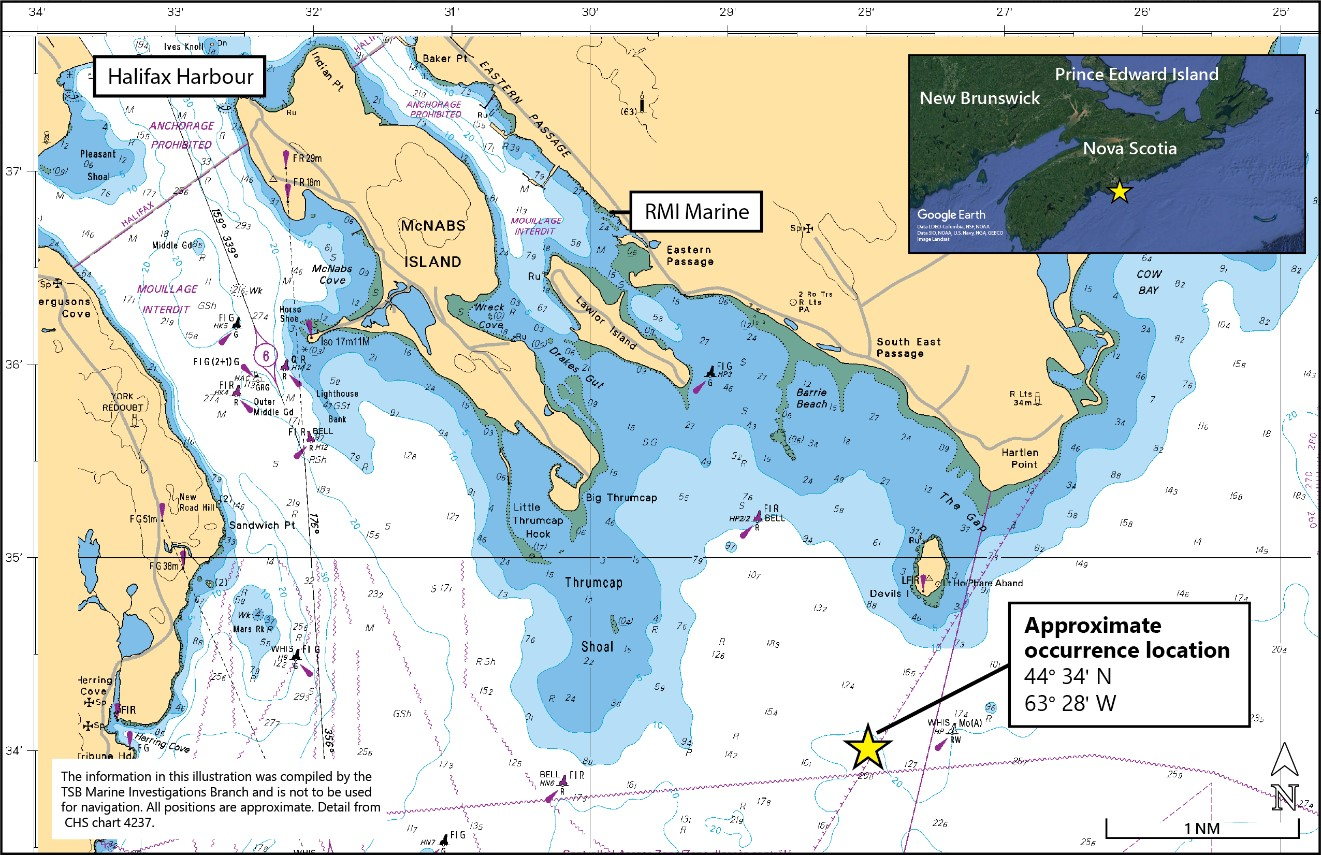 Area of the occurrence (Source: Canadian Hydrographic Service Chart No. 4237, with TSB annotations)