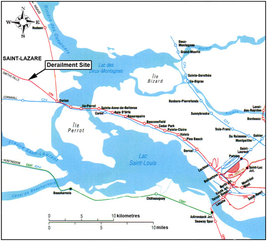 Figure 1. Derailment site (source: Railway Association of  Canada, Canadian Railway Atlas)