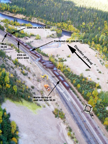 Aerial photo of the derailment, showing the derailed cars, and the location of the fractured rail at mile point 56.28