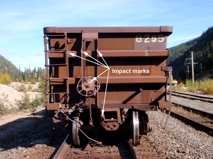 Visible impact marks on the south end of car IOCC 8295
