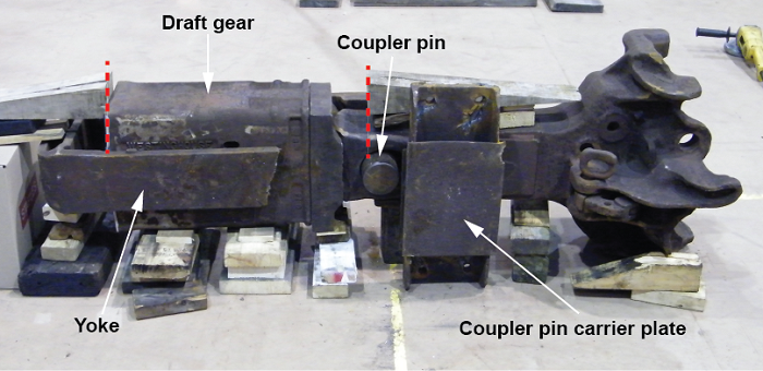 View of the coupler and its different components, including the yoke, the draft gear, the coupler pin and the coupler pin carrier plate