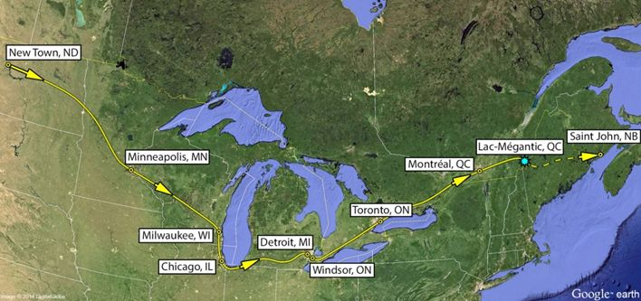 map of the approximate route travelled through toronto and montral en route to lac mgantic