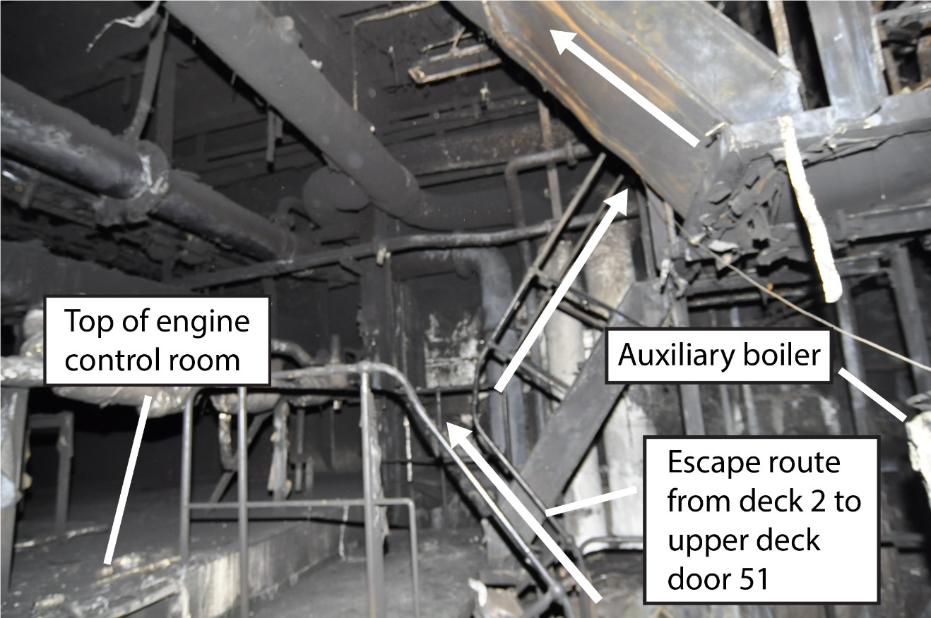 Route used by the crew to exit the engine room, showing the stairs from deck 2 to door 51 on the upper deck (Source: United States Coast Guard, with TSB annotations)